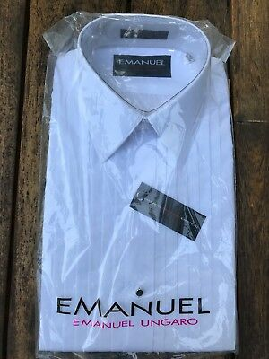 NWT Emanuel Ungaro Pleated White Tuxedo Shirt, Size 15