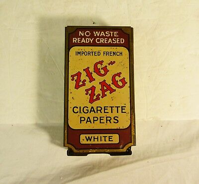 Vintage Zig Zag Cigarette Papers Metal Dispenser Display Advertising Sign