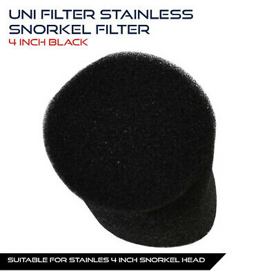 UNIFILTER 4 inch 100mm Stainless Snorkel Pipe Cover Pre cleaner Filter Black