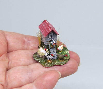 Dollhouse Miniatures 1:48 Scale CHICKEN COOP and Chickens OOAK