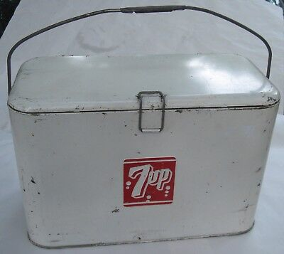 Vintage 1950's 7UP AIRLINE COOLER, Galvanized ICE BOX, PROGRESS Co Louisville KY