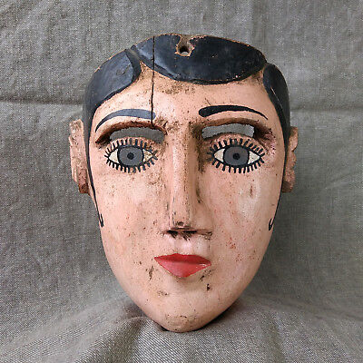 Awesome Antique Female Character Mask. Mexican Dance Mask. Mexican Folk Art.