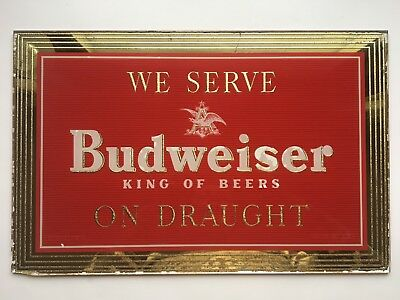 BUDWEISER Beer On Draught ROG Reverse Glass Advertising Sign Vintage 12 x 17