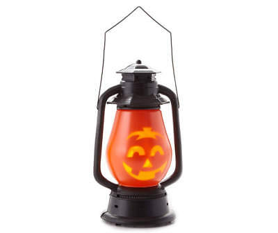 "Halloween 15"" Orange Pumpkin Face LED Plastic Lantern Lights and Sound Effects"
