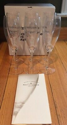 Set 6 Moet & Chandon Imperial Crystal Champagne Flutes Made In France NEW In Box