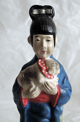 6 inch Japanese Old Clay doll : Kimono woman who holds a Dog