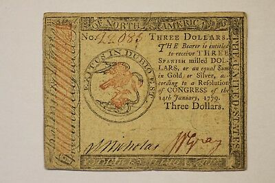 1779 $3  Colonial - Continental Currency, VF, Hand Signed/Numbered Free S/H