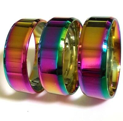 20 Colorful Bright 8mm Men Women Rainbow 316L Stainless Steel Wedding Rings