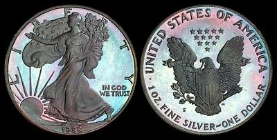 BEAUTIFULLY TONED PROOF 1988-S AMERICAN SILVER EAGLE ASE 1 oz SILVER .999 PURE