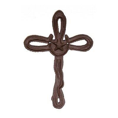 Cross large Cast Iron Wall Decor  Christian  Rustic Decorative Rope & Horseshoe