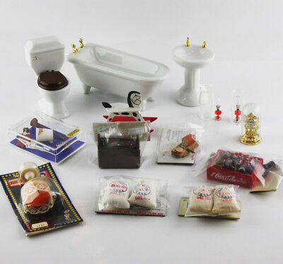Vintage Miniature Dollhouse Furniture and Accessories 14 Piece Lot 1:12 Scale