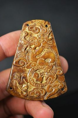 Exquisite Chinese old jade Carved *dragon* Lucky pendant    F2