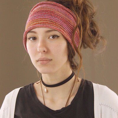 Headband Pink Orange White Hippy Boho Scrunch Stretch Nepalese 100% Cotton Wide
