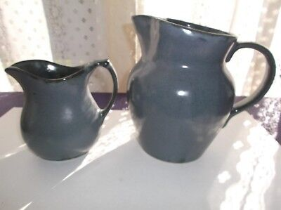 Vtg. 2 Robinson Ransbottom Pottery Pitcher Set Blue with Green Highlights RRPCO