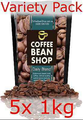 Coffee Beans 5KG!! 5x 1kg VARIETY PACK ** FREE DELIVERY * espresso cafe office
