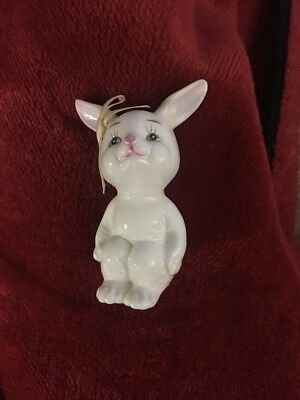 "Vintage 3"" Bone China White Easter Bunny Rabbit Figurine"