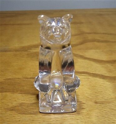 Vintage Signed Hadeland-  Norway Crystal Seated Bear Glass Paperweight Figurine