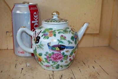 ANTIQUE 19th CENTURY CHINESE CANTONESE FAMILLE ROSE PORCELAIN TEAPOT