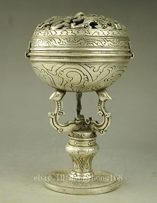 Old Chinese copper plating silver carved dragon phoenix  incense burner e01