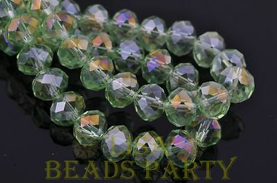 5pcs 14X10mm Big Crystal Glass Rondelle Facets Loose Beads Light Green AB