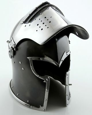 Medieval Barbute Helme Armour Roman with Inner Liner gladiator wooden stand free
