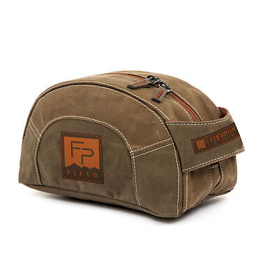 Fishpond Cabin Creek Waxed Canvas Travel Toiletry Zippered Kit Bag- Earth