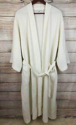 Boca Terry Unisex Waffle Knit Textured Ivory Belted Robe One Size
