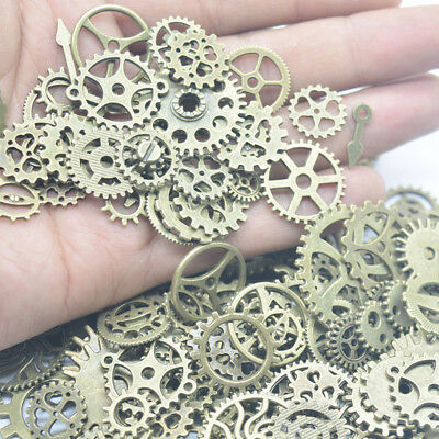 100g Watches Part Steampunk Alloy Metal Jewellery Cyberpunk Cogs Gears Charms UK