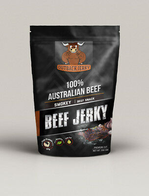 BEEF JERKY SMOKEY 200G Hi PROTEIN LOW CARBOHYDRATE PRESERVATIVE FREE SNACK