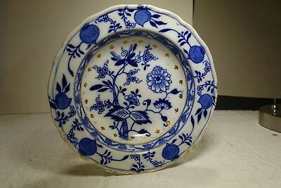 PF19d MEISSEN BLUE ONION SOUP PLATE by Brown Westhead Moore, England 1895 7""