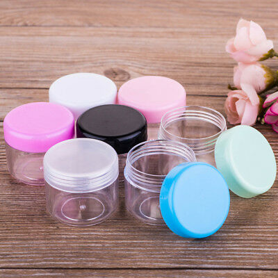 2/5/10x Clear Small 20ML Plastic Jars for Cosmetic Sample Container Pot Cream
