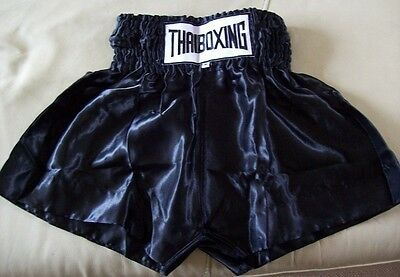 Thai Boxing Shorts Black Adult Childrens UK Seller Pantalones Cortos Thaiboxhose