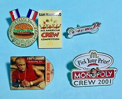 5 McDonalds CREW pins -2000-2001 -Monopoly,The Groove- SF Crew Competition +