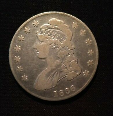 1836 Capped Bust 90% Silver U.S. Half Dollar Lettered Edge 50c, circulated