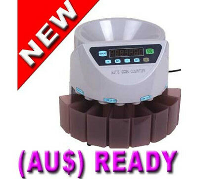 Business Capacity 1000 Coin Counter Sorter Cash Handling for Australian Coins