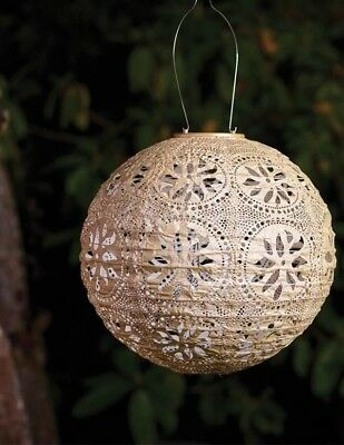 Victorian Trading Co Solar LED Lacy Paper Punch Stainless Steel Lantern Globe