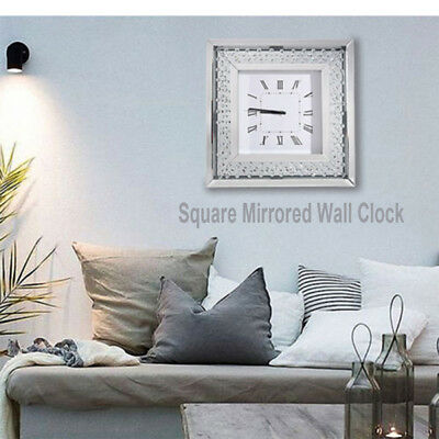 Silver Square Mirrored Wall Clock Floating Crystals Bevelled 50x50cm UK Stock