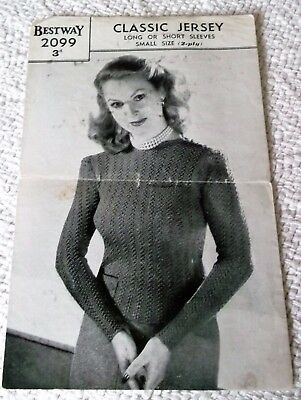 ORIGINAL, VINTAGE, 1940's, BESTWAY, KNITTING PATTERN, No.2099, CLASSIC JERSEY.