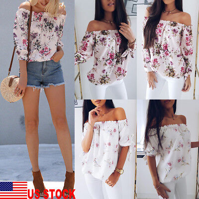 Fashion Womens Summer Floral Off Shoulder Tops Loose T-shirt Casual Shirt Blouse