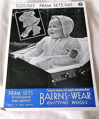 ORIGINAL VINTAGE,1940's BAIRNSWEAR KNITTING  PATTERN No.1323 PRAM SETS 6 - 12mth