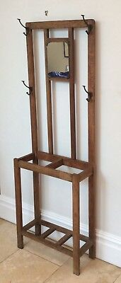 arts and crafts oak coat stand