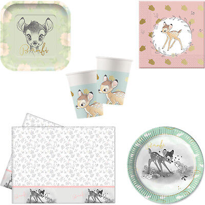 Disney Bambi Deluxe Cute Birthday Party Tableware Tablecover Napkins Plates Cups