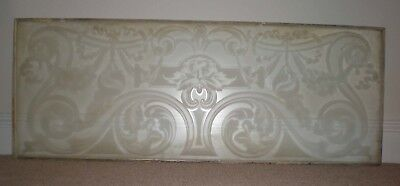 Victorian etched glass horizontal panel 53 inches by 20 'Green Man' design