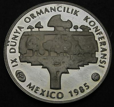 TURKEY 5000 Lira 1985 Proof - Silver - Forestry Conference Mexico - 421