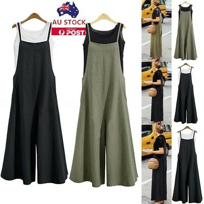Plus Size Women Sleeveless Dungarees Playsuit Wide Leg Long Pants Trouser Romper