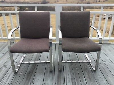 Pair Of Chairs In Knoll Brno Style, Flat Bar - Mid Century Modern