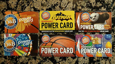 NEW 6 Dave And Buster's Power Cards (2 with 111.6 chips/ea &4 with 93.6 chips/ea