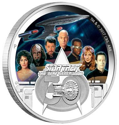 Tuvalu 2 Dollar 2017 Star Trek Crew Next Generation 30. Jubiläum 1 Oz Silber PP