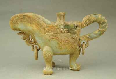 Chinese jade 100% natural hand-carved Old jade Beast Angle Cup e02