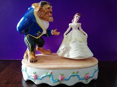 SCHMID Porcelain BEAUTY and The BEAST -DANCING 6 1/2'h Music Motion Box